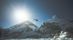 Helicopter over the Himalayas